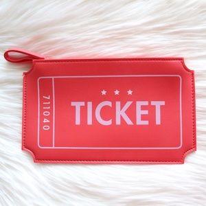 NWOT Ipsy Cosmetics Bag Orange Ticket